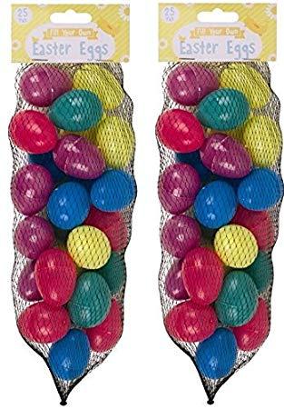 50 Assorted Colour Fillable Plastic Surprise Eggs