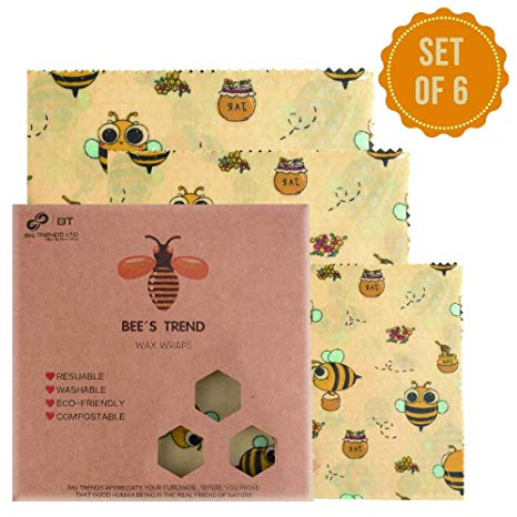 Bee's Trend - Juego de 6 envoltorios de cera de abeja