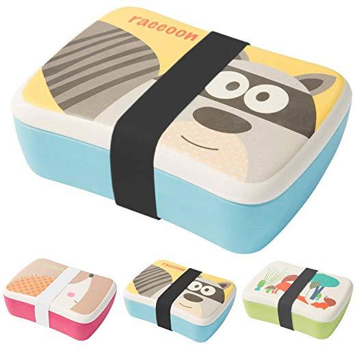 Bento box infantil de bambú con compartimento pequeño para snacks